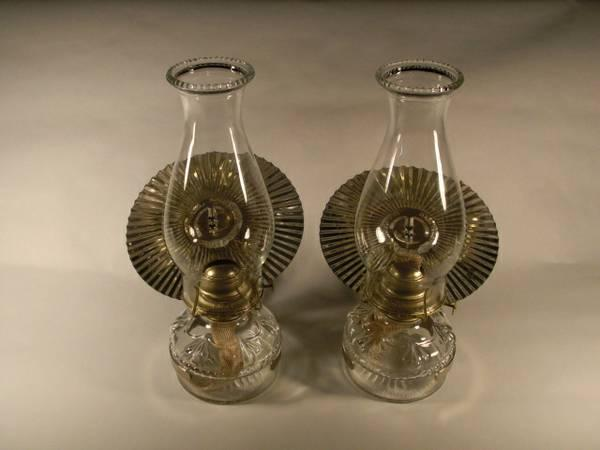 Pair Vintage Oil Lamps Reflectors Wall Mounts For Sale