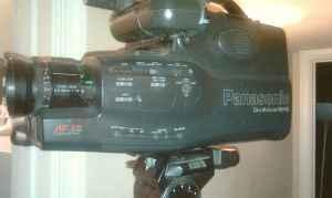 ,Panasonic VHS Camcorder, metal office back desk, crt
