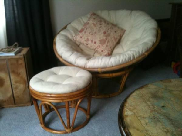 Papasan Chair W/ Optional Stool   $125