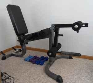 Parabody Leg Curl Extension Bench W Olympic Weights Obo Dodgeville For Sale In Dubuque Iowa