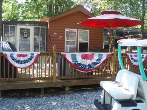 park model log cabin trailer owner