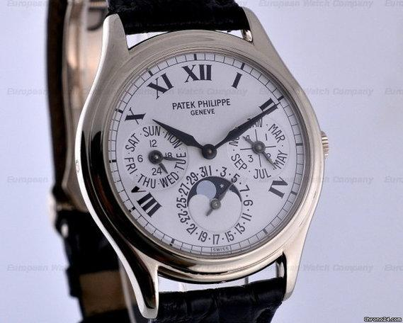 patek philippe perpetual calendar white dial roman 18k. Black Bedroom Furniture Sets. Home Design Ideas