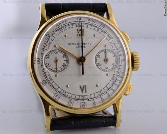 patek philippe vintage chronograph 130 18k yg sector dial. Black Bedroom Furniture Sets. Home Design Ideas