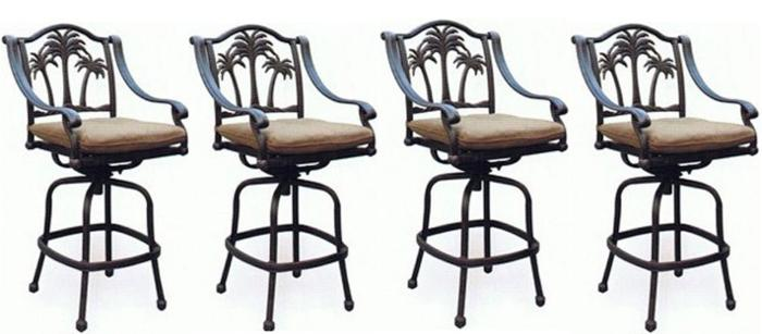 Stupendous Patio Set Of 4 Bar Stool Palm Tree Outdoor Swivel Barstools Ncnpc Chair Design For Home Ncnpcorg