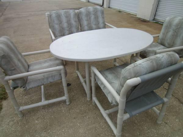 Patio Set Pvc 5 Pc Table 3 Chairs Double Glider Loveseat