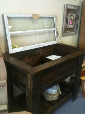 Patio Storage Cabinet With Vintage Window For Sale In