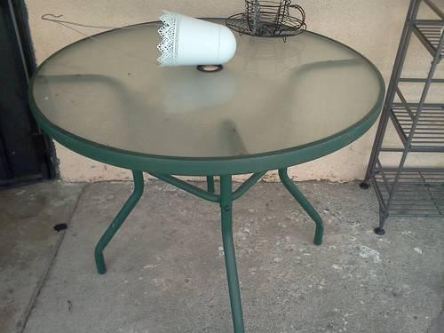 Patio Table And 4 Chairs Glass Table Sage Green Sturdy