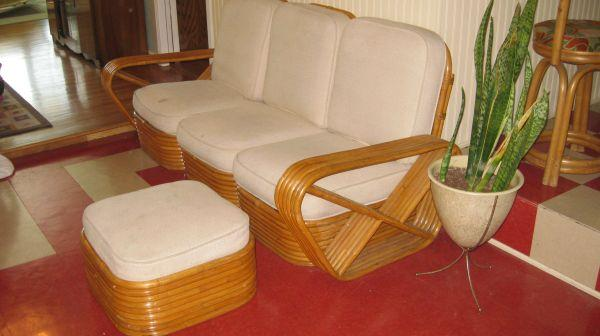 Paul Frankl Style Vintage Rattan Couch And Ottoman
