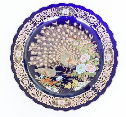 PEACOCK COBALT BLUE PLATE ARABIC MARKS ON THE BACK