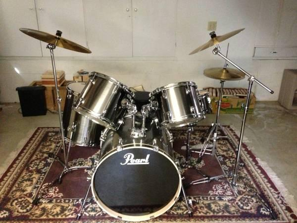 pearl 5 pc drum set w 3 cymbals for sale in mount vernon washington classified. Black Bedroom Furniture Sets. Home Design Ideas