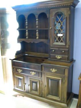 Pennsylvania House Dark Pine Kitchen Cabinet With Dry Sink Desk For Sale In Fort Wayne