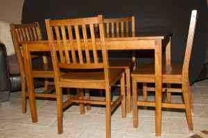 Perfect Solid Wood Table And Four Chairs Honey Stain