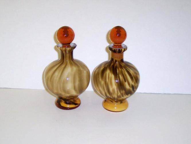 Perfume Bottles, Brown Tiger Striped, Amber Stoppers,Size 7 h base 2.