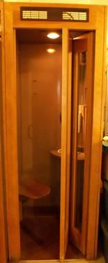 PHONE BOOTH - ANTIQUE WOODEN - GLASS DOORS WITH SEAT & LIGHT & FAN