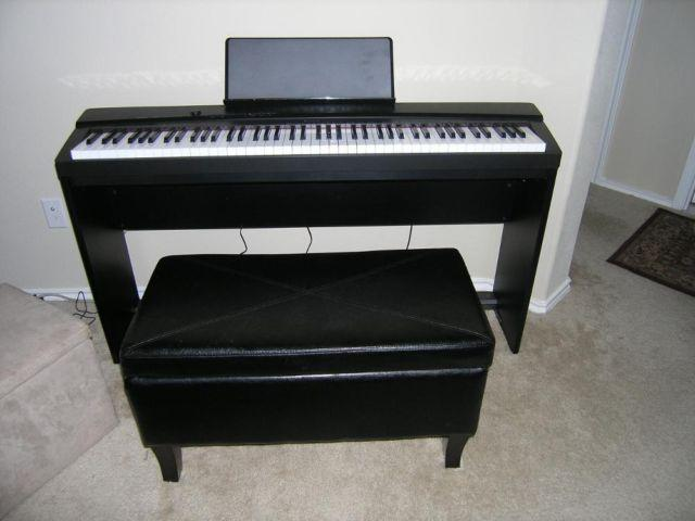 Black Electric Piano With Stand (Privia by Casio) & Bench Like New