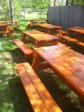 PICNIC TABLE BUILT IN COOLER TRASH CAN PLANTER HANDMADE For - Picnic table with grill built in