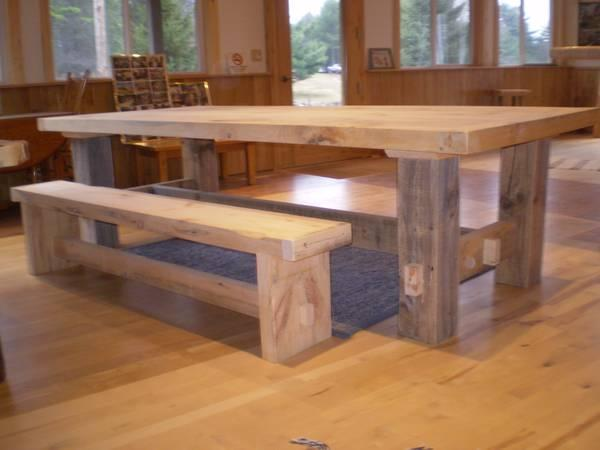 Pine farm table log bench rustic for Sale in Eagle River Wisconsin Classif