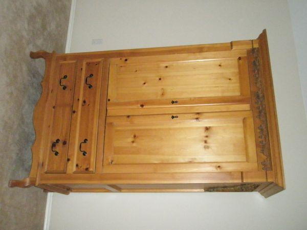 Pine Wood Armoire TV Storage - $375 Tulsa Broken Arrow