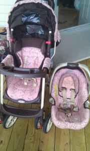 Pink And Brown Graco Travel System With Base For Car Seat