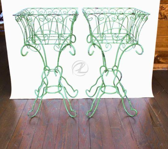 Plant Stands Wrought Iron Pair Vintage Green Planters Wire Antique