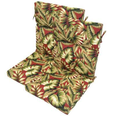 Plantation Patterns Chili Leaves Highback Patio Chair