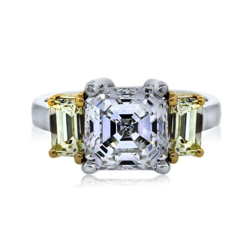 Platinum and 18K 3.18ct Asscher Cut Three Stone GIA