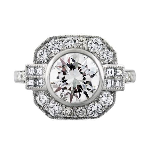 Platinum Art Deco Style 2.34 Carat Diamond Engagement