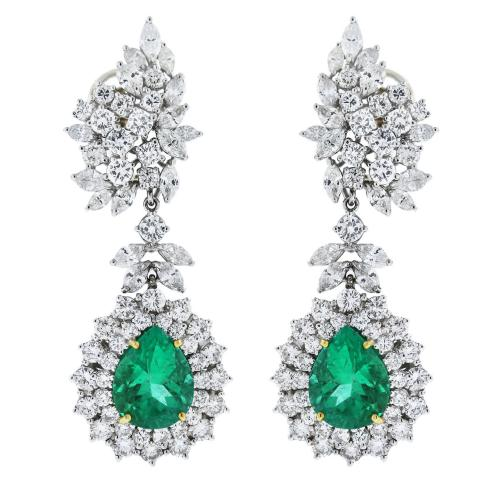 Platinum Pear Shape Emerald and Diamond Drop Earrings