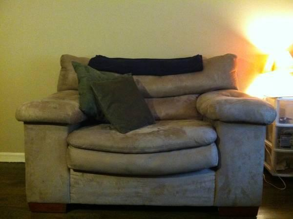 PLUSH OVERSIZED BROWN MICROSUEDE CHAIR AND OTTOMAN for