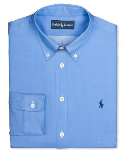 Polo Ralph Lauren Big and Tall Dress Shirt, Blue Twill Solid Long-Sleeved Shirt