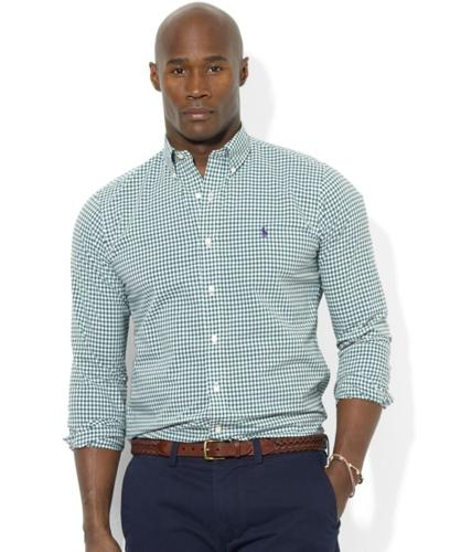 Polo Ralph Lauren Big and Tall Shirt, Classic-Fit Long-Sleeve Checked Sport Shirt