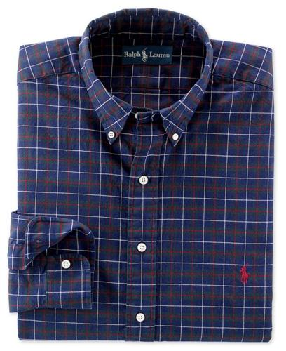 Polo Ralph Lauren Big and Tall Shirt, Classic-Fit Long-Sleeve Plaid Brushed Oxford Shirt