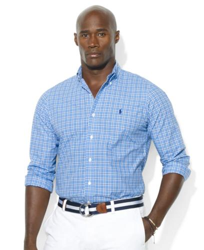 Polo Ralph Lauren Big and Tall Shirt, Classic-Fit Long-Sleeve Plaid Poplin Sport Shirt