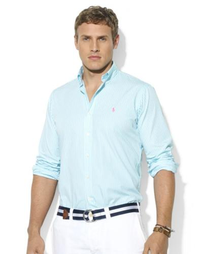 Polo Ralph Lauren Big and Tall Shirt, Classic-Fit Long-Sleeve Striped Poplin Sport Shirt