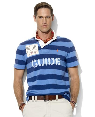 Polo Ralph Lauren Big and Tall Shirt, Classic Fit Short Sleeve Stripe Rugby Shirt