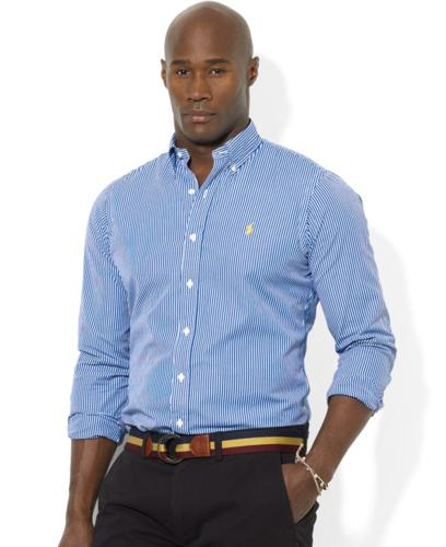 Polo Ralph Lauren Big and Tall Shirt, Classic-Fit Short-Sleeve Striped Sport Shirt
