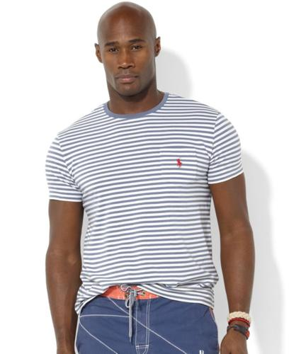 Polo Ralph Lauren Big and Tall Shirt, Classic-Fit Short-Sleeved Striped Jersey Pocket Crew Neck T-Shirt