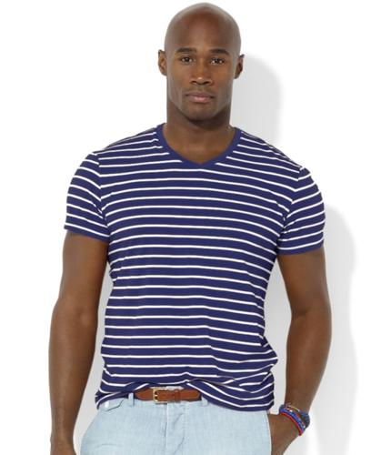 Polo Ralph Lauren Big and Tall Shirt, Classic-Fit Short-Sleeved Striped Jersey V-Neck T-Shirt