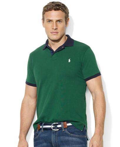 Polo Ralph Lauren Big and Tall Shirt, Custom-Fit Contrast-Collar Short-Sleeve Mesh Polo