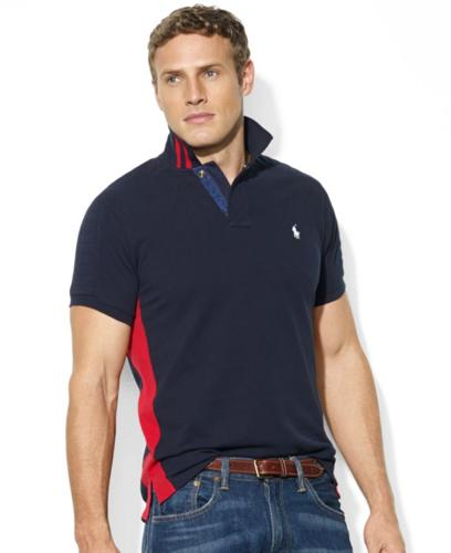 Polo Ralph Lauren Big and Tall Shirt, Custom-Fit Short-Sleeve Colorblocked Mesh Polo
