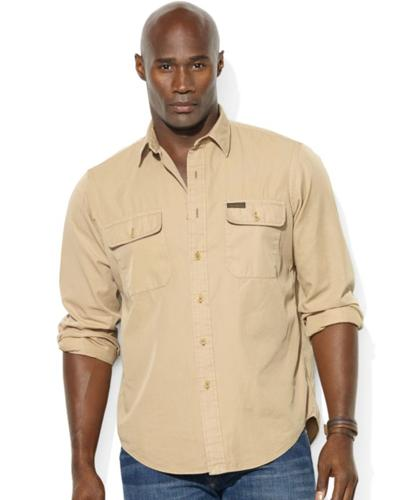 Polo Ralph Lauren Big and Tall Shirt, Long-Sleeve Cotton Twill Military Workshirt