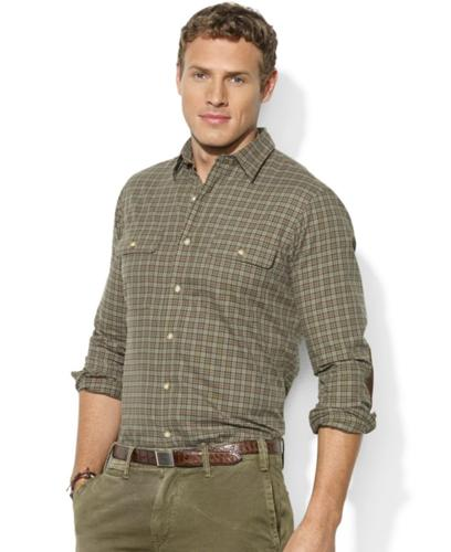 Polo Ralph Lauren Big and Tall Shirt, Long-Sleeve Plaid Sueded Twill Patch Workshirt