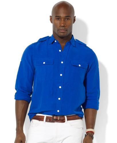 Polo Ralph Lauren Big and Tall Shirt, Military G.I. Linen-and-Silk Epaulet Shirt