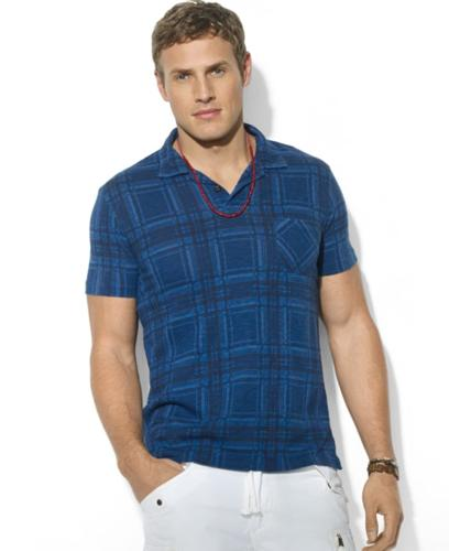Polo Ralph Lauren Big and Tall Shirt, Short-Sleeve Plaid Jersey Pocket Polo
