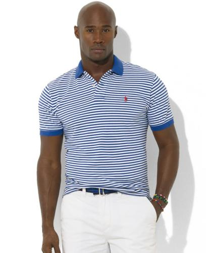 Polo Ralph Lauren Big and Tall Shirt, Short Sleeve Stripe Knit Polo Shirt