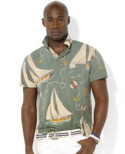 Polo Ralph Lauren Big and Tall Shirt, Short Sleeved Sailboat Print Knit Jersey Polo Shirt