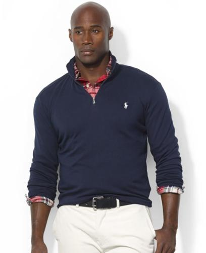 Polo Ralph Lauren Big and Tall Sweater, Half-Zip Mock Neck Pima Cotton Pullover