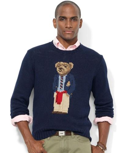 Polo Ralph Lauren Crew Neck Intarsia-Knit Polo Bear Sweater