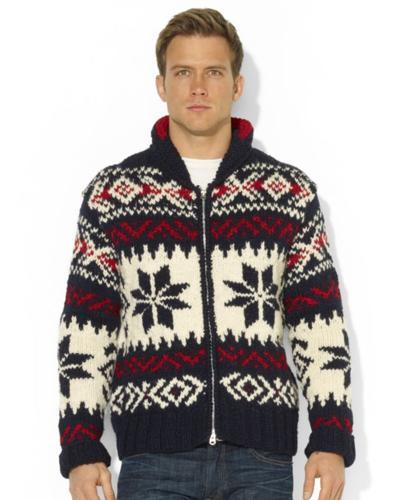 d20b2f8309 Polo Ralph Lauren Sweater, Shawl Collar Zip-Front Patterned Wool ...