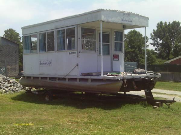 Pontoon Houseboat custom made house,trailer, motor - for ...